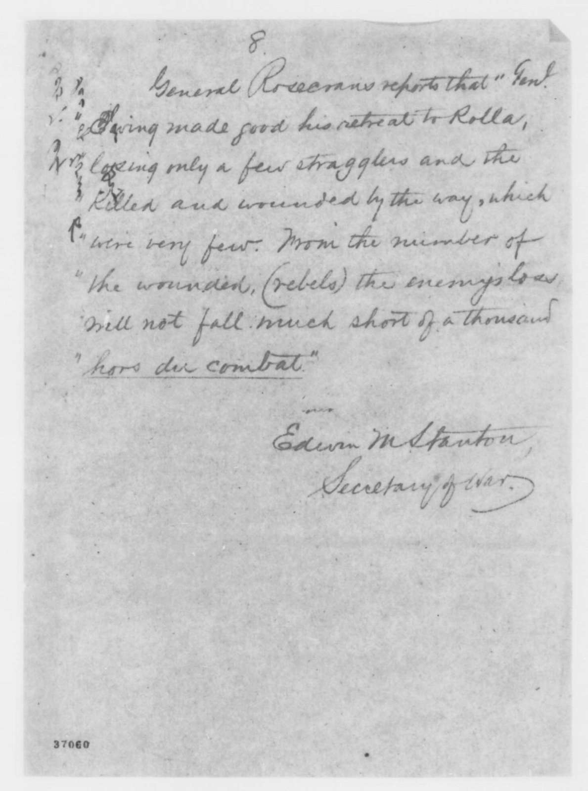 Edwin M. Stanton to John A. Dix, Friday, October 07, 1864  (Telegram reporting military developments)