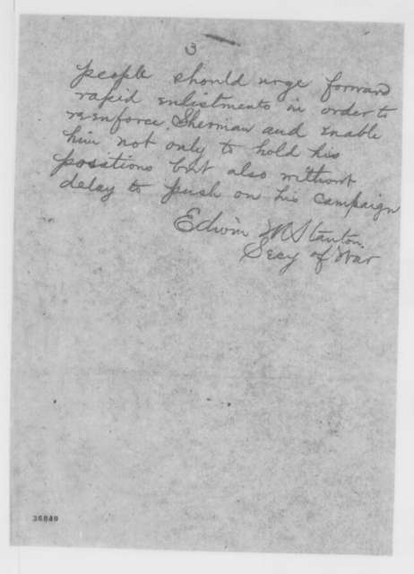 Edwin M. Stanton to John A. Dix, Thursday, September 29, 1864  (Telegram reporting military news)