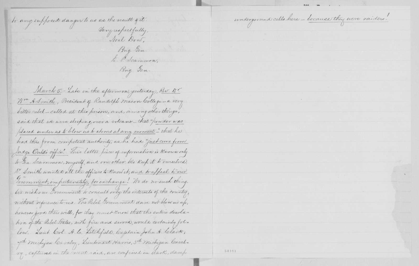 Edwin McMasters Stanton Papers: Correspondence, 1831-1870; 1864; 1864, Feb. 28-June 20