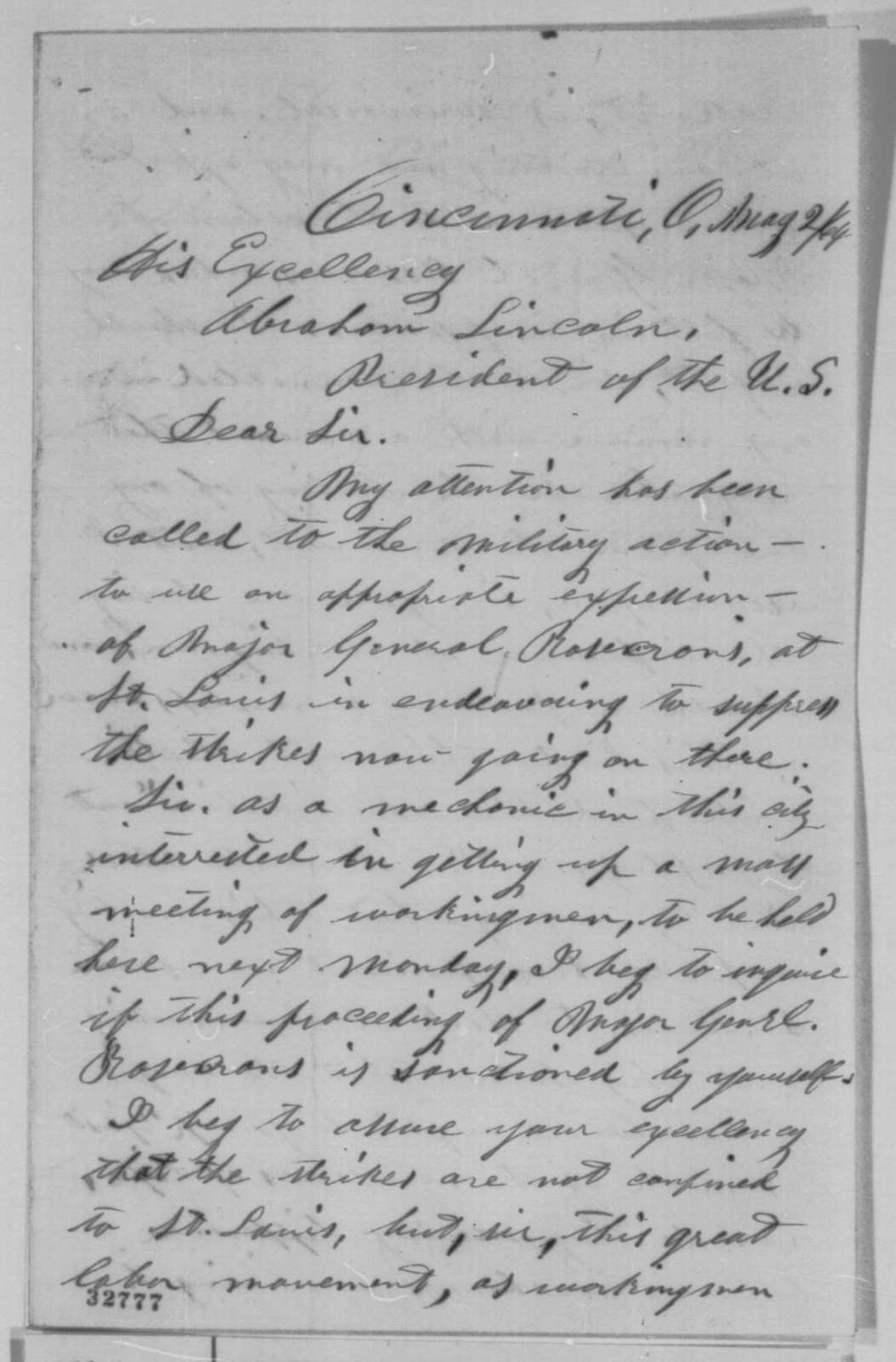 Edwin Weston to Abraham Lincoln, Monday, May 02, 1864  (Protests conduct of General Rosecrans)