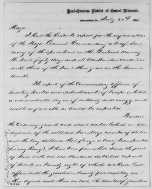 Egbert B. Brown to Oliver D Greene, Wednesday, July 20, 1864  (Military affairs in Missouri)