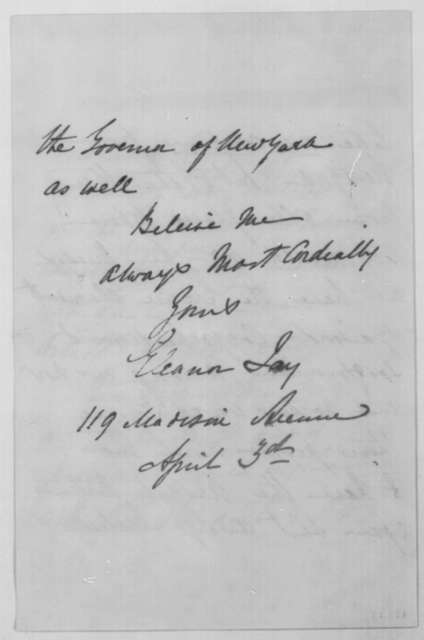 Eleanor F. Jay to John G. Nicolay, April 3 [1864]  (Military advice)
