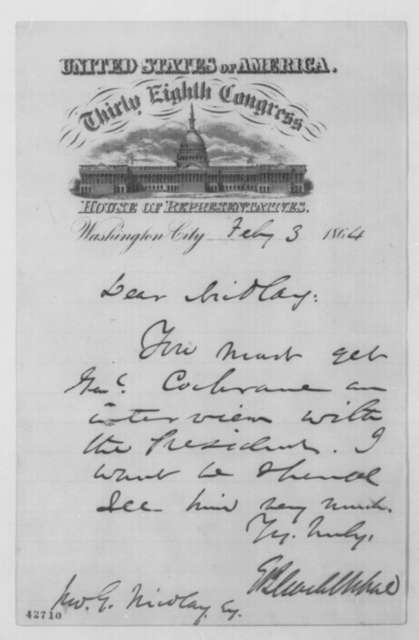 Elihu B. Washburne to John G. Nicolay, Wednesday, February 03, 1864  (Interview for General John Cochrane)