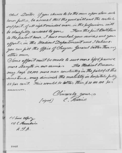 Elisha Harris to Augustus C. Hamlin, Wednesday, August 03, 1864  (Appointment of surgeon general)