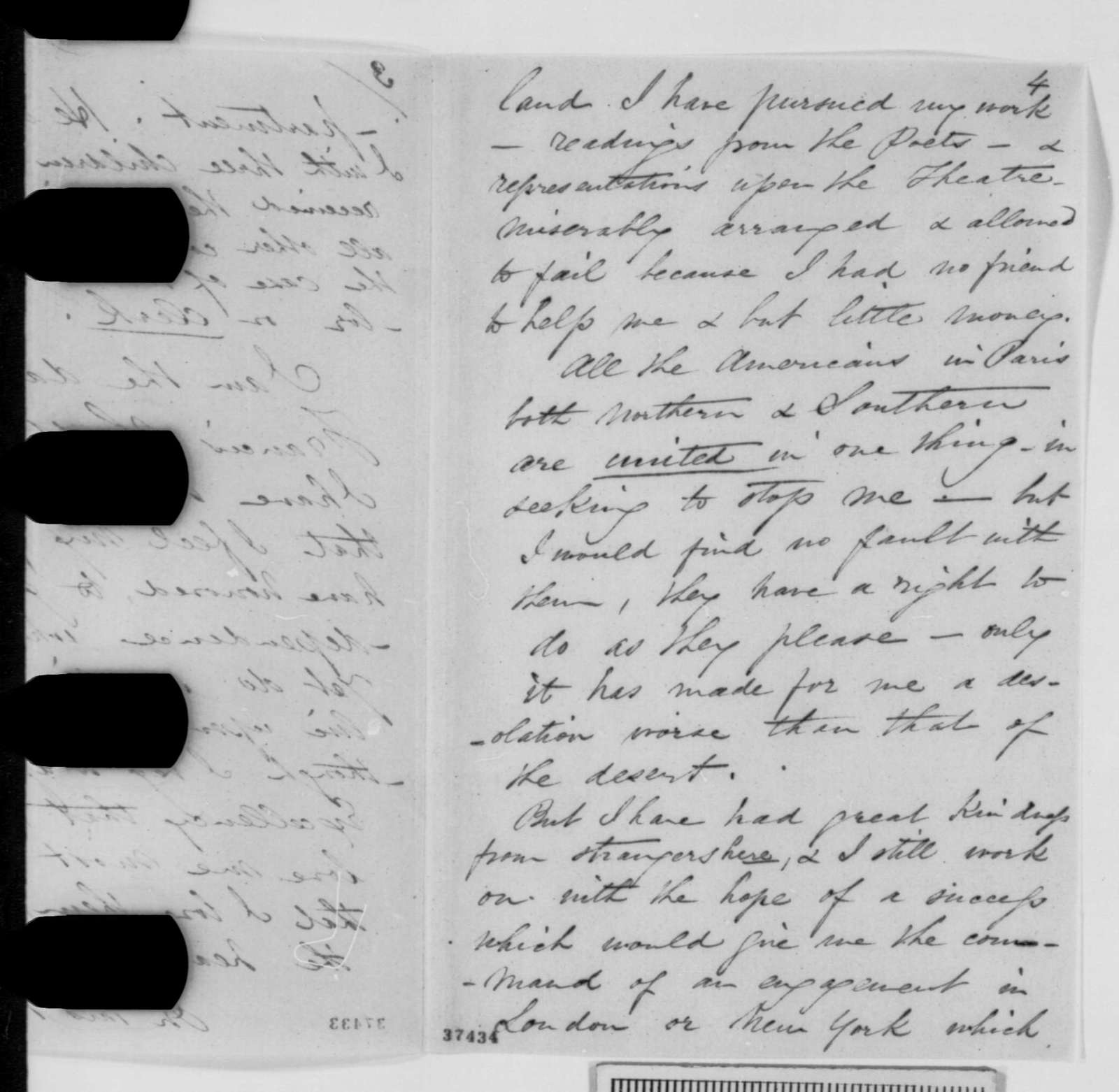 Ellen K. Blunt to Abraham Lincoln, Thursday, October 20, 1864  (Seeks pension; with extract of letter from Jules Janin)