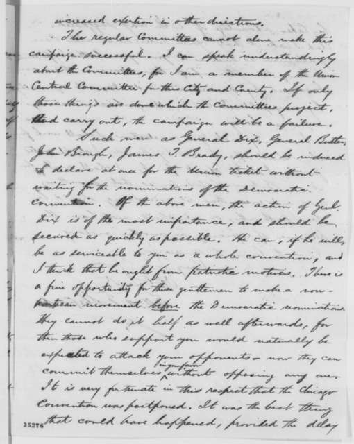 Elliott F. Shepard to Abraham Lincoln, Saturday, August 13, 1864  (Political affairs)
