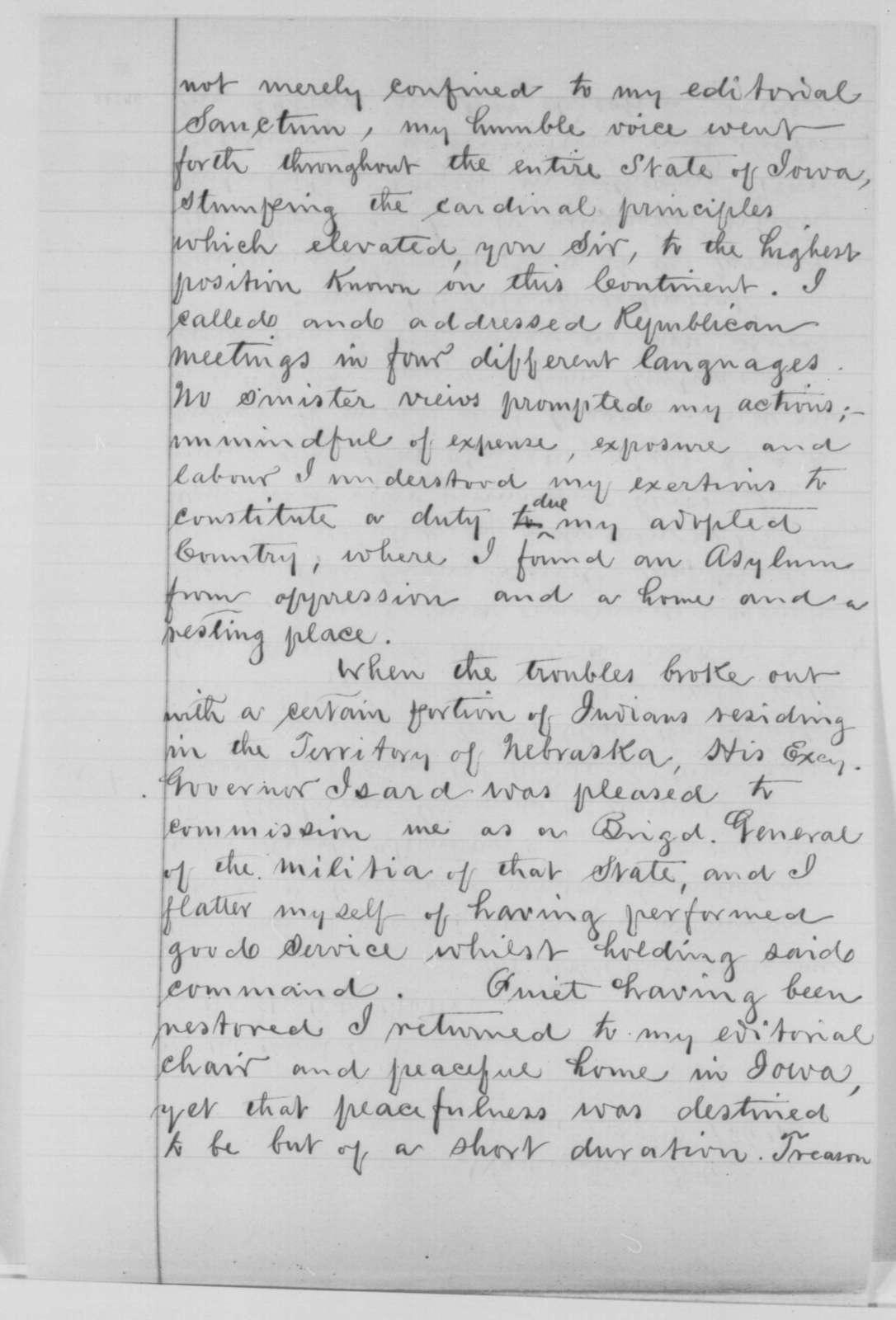 Emanuel J. Pleyel to Abraham Lincoln, Tuesday, March 22, 1864  (Seeks military commission)