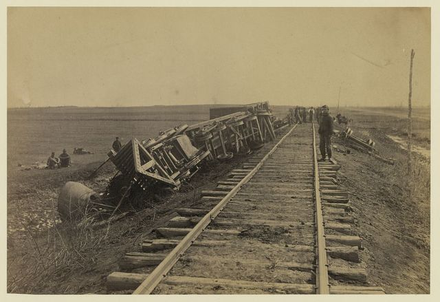 """Engine """"Government"""" [Commodore?] down the """"banks"""" near Brandy, April 1864"""