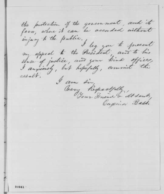 Eugenia Bass to William H. Seward, Thursday, January 07, 1864  (Seeks release of brother and compensation for property seized by the Union Army)