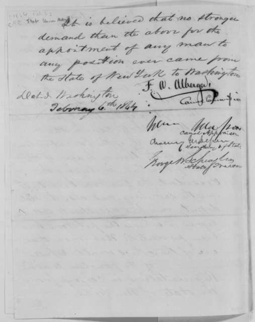 F. A. Alberger, et al. to Abraham Lincoln, Saturday, February 06, 1864  (Recommendation for Abram Wakeman)