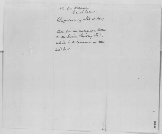 F. A. Allberger to Abraham Lincoln, Monday, February 15, 1864  (Buffalo Sanitary Fair)