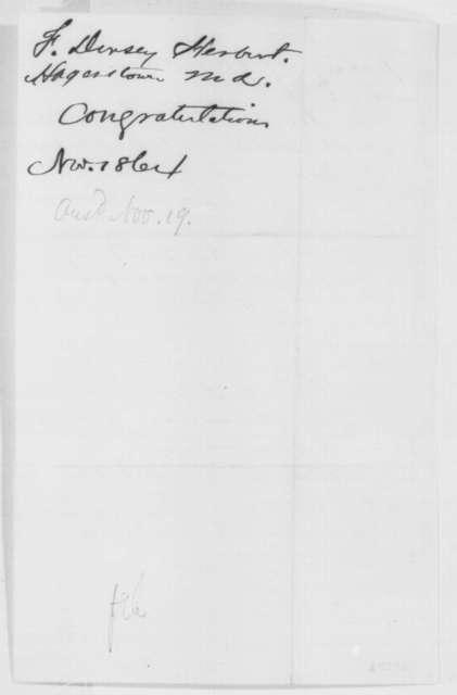 F. Dorsey Herbert to Abraham Lincoln, Monday, November 14, 1864  (Congratulations; with endorsement)
