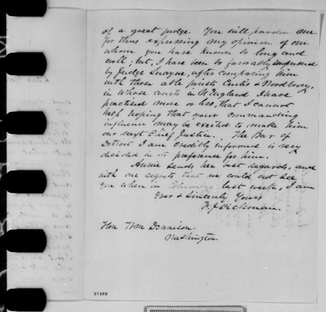 F. J. Dickman to William Dennison, Saturday, October 22, 1864  (Recommendation; endorsed by Dennison)