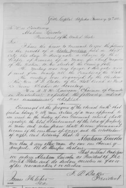 F. P. Baker and James Fletcher to Abraham Lincoln, Saturday, January 09, 1864  (Resolutions from meeting at Topeka, Kansas)