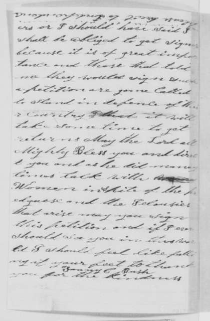 Fanny C. Bush to Abraham Lincoln, Sunday, September 11, 1864  (Request for license to preach)