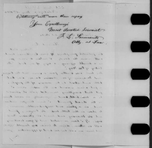 Ferdinand L. Sarmiento to Abraham Lincoln, Monday, May 30, 1864  (Sends book)