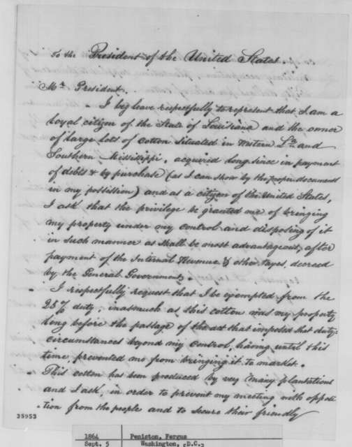 Fergus Peniston to Abraham Lincoln, Monday, September 05, 1864  (Requests permission to take control of property in Louisiana)