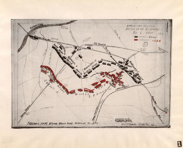 Fifteen pen and ink maps of the battle of the Wilderness /