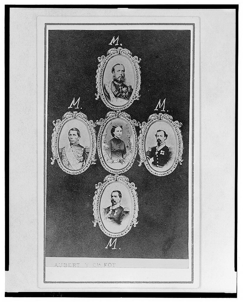 [Five cameo portraits with Empress Carlota in center, then clockwise from top: Emperor Maximilian, Miguel Miramon, Ramon Mendez, and Tomás Mejía]