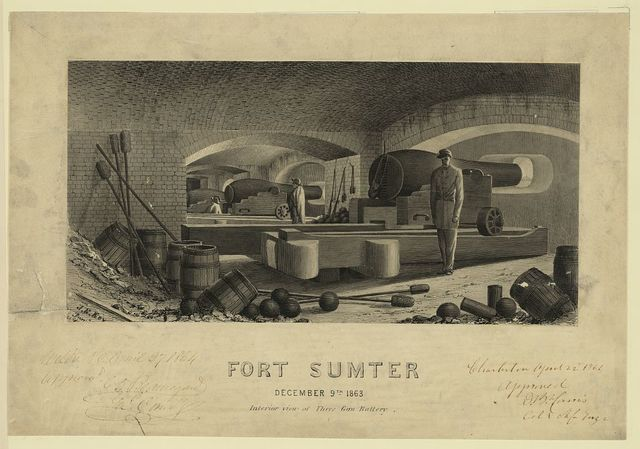 Fort Sumter, December 9th 1863, Interior view of Three Gun Battery