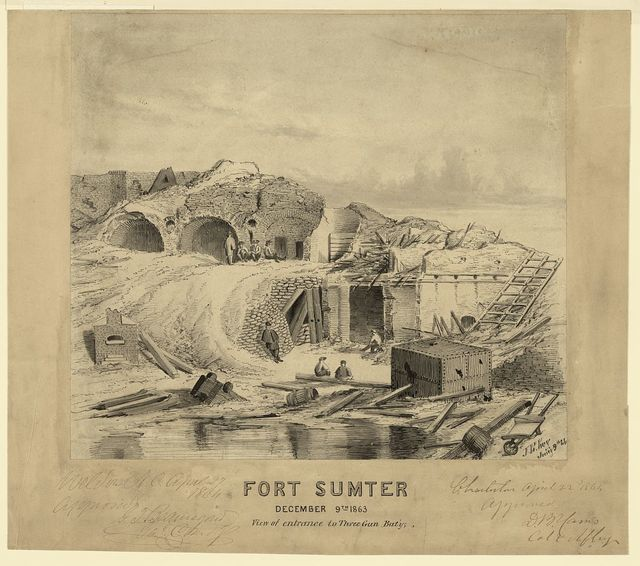 Fort Sumter, December 9th 1863, View of entrance to Three Gun Bat'y