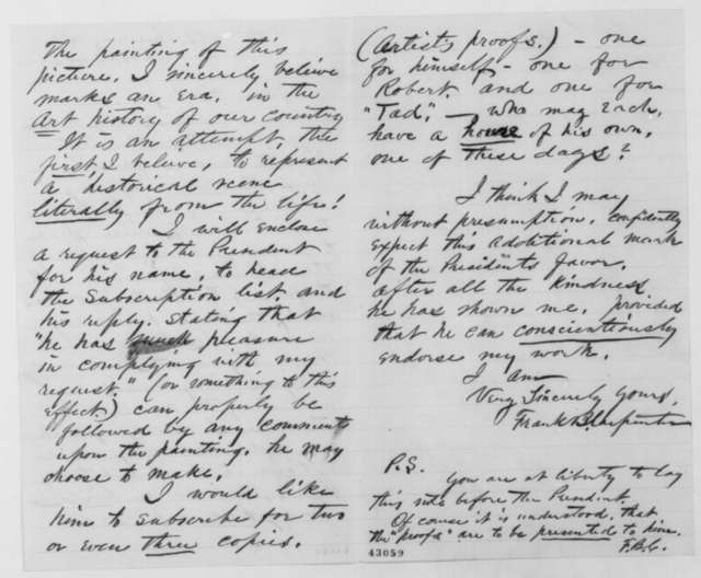 Francis B. Carpenter to John G. Nicolay, Monday, September 12, 1864  (Requests Lincoln's opinion of his picture)