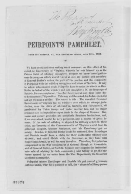 Francis H. Peirpoint, Friday, June 24, 1864  (Printed pamphlet)