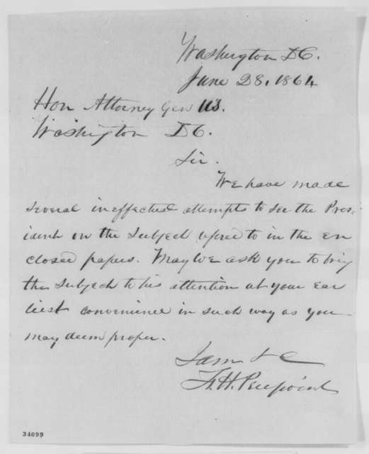 Francis H. Peirpoint to Edward Bates, Tuesday, June 28, 1864  (Cover letter)