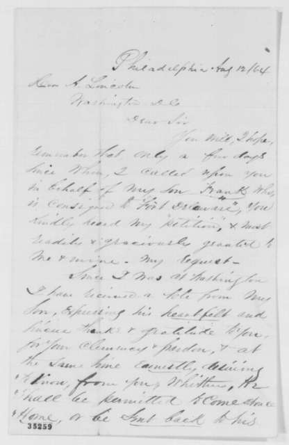 Francis L. Stewart to Abraham Lincoln, Friday, August 12, 1864  (Appreciates Lincoln's pardon of his son)