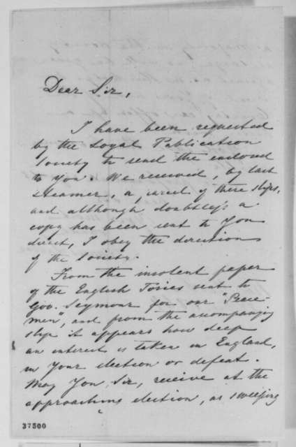 Francis Lieber to Abraham Lincoln, Saturday, October 22, 1864  (Cover letter)