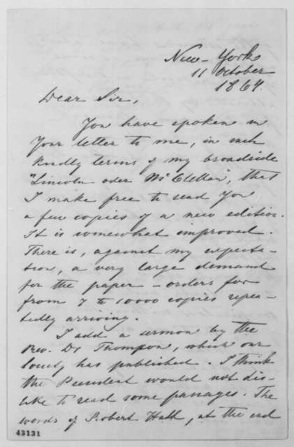 Francis Lieber to John G. Nicolay, Tuesday, October 11, 1864  (Sends campaign materials)