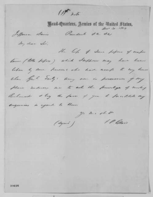 Francis P. Blair Sr. to Jefferson Davis, Friday, December 30, 1864  (Requests return of papers)