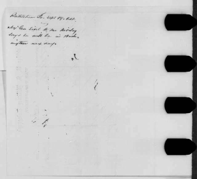 Franz Sigel to John G. Nicolay, Monday, September 19, 1864  (Telegram concerning Sigel's plans to visit Washington)