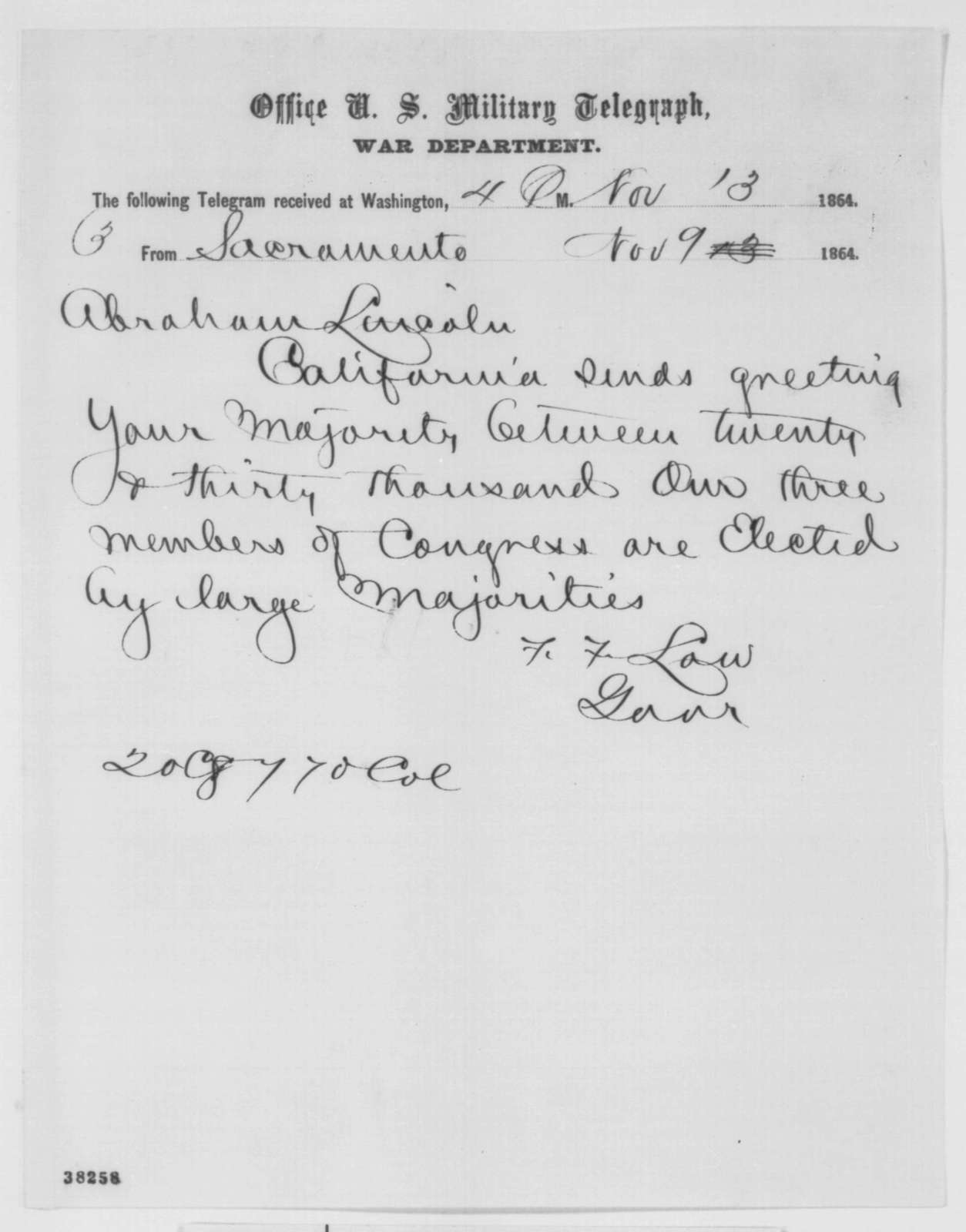 Frederick F. Low to Abraham Lincoln, Wednesday, November 09, 1864  (Telegram reporting California election results)
