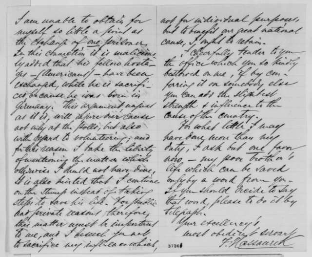 Frederick Hassaurek to Abraham Lincoln, Saturday, October 15, 1864  (Seeks his brother's release from Confederate prison)