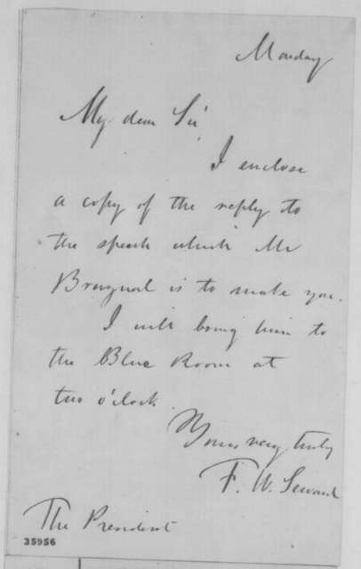 Frederick W. Seward to Abraham Lincoln, September 5, 1864  (Meeting with minister from Venezuela)