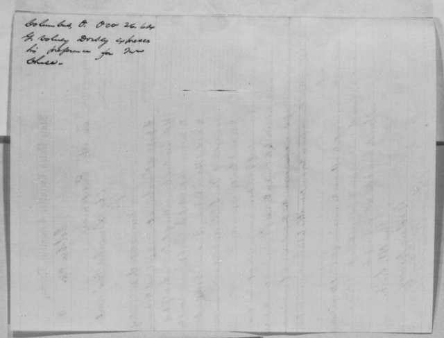 G. Volney Dorsey to Abraham Lincoln, Wednesday, October 26, 1864  (Recommends Chase for Chief Justice)