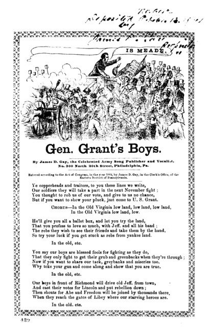 Gen. Grant's boys. By James D. Gay, the Celebrated Army Song Publisher and Vocalist, No. 300 North 20th Street, Philadelphia, Pa