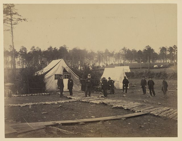 Gen. Patrick's headquarters, Brandy, April 15, 1864. Gen. Meade's headquarters in distance