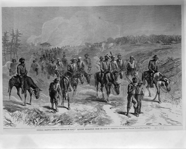 General Grant's campaign - return of Kautz's cavalry expedition from its raid in Virginia / sketched by William Waud.