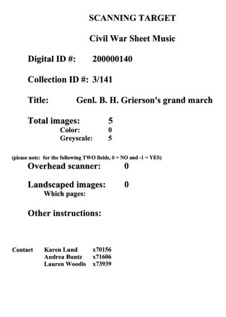 Genl. B. H. Grierson's grand march