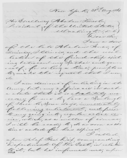 George B. Jonas to Abraham Lincoln, Wednesday, August 31, 1864  (Request for furlough)