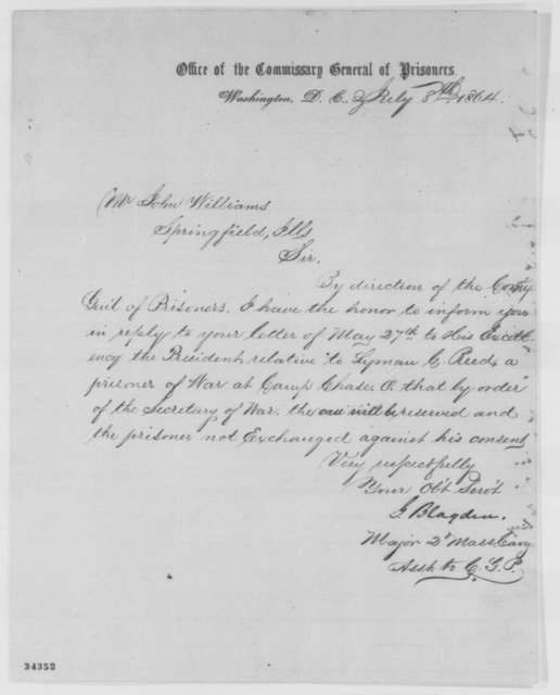 George Blagden to John Williams, Friday, July 08, 1864  (Case of Lyman C. Reed)