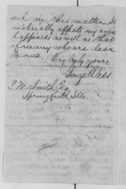 George Bliss to Clark M. Smith, Monday, April 11, 1864  (Case of James Armstrong)