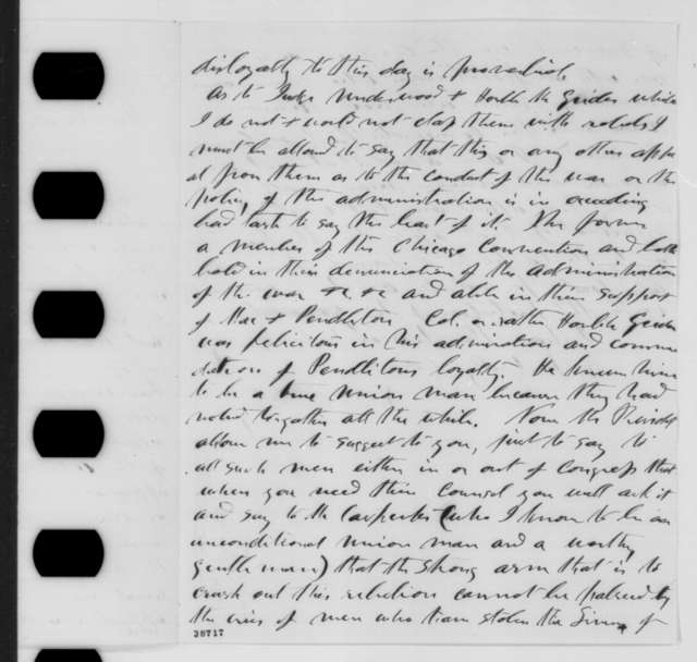 George D. Blakey to Abraham Lincoln, Friday, November 25, 1864  (Military affairs in Kentucky)