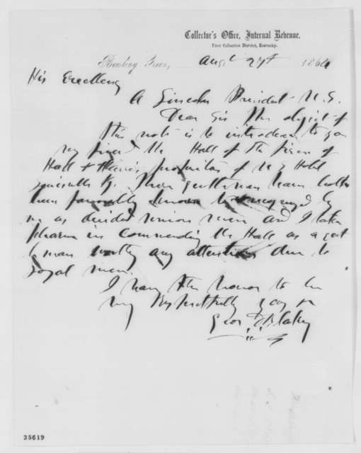 George D. Blakey to Abraham Lincoln, Saturday, August 27, 1864  (Introduction)