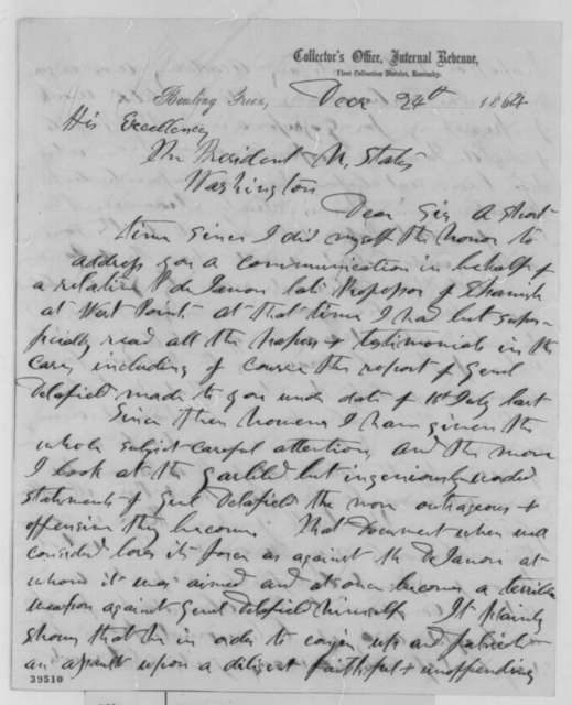 George D. Blakey to Abraham Lincoln, Saturday, December 24, 1864  (Case of Patrice de Janon)