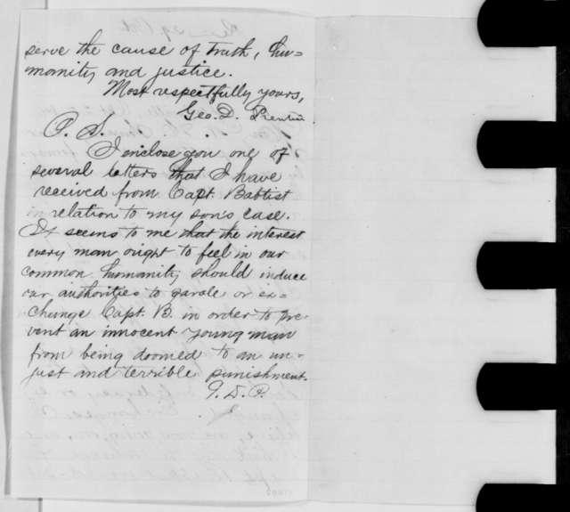George D. Prentice to William H. Seward, Tuesday, October 25, 1864  (Requests exchange of Confederate prisoner)
