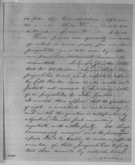 George D. Ramsay to Abraham Lincoln, Tuesday, March 08, 1864  (Absterdam projectiles; endorsed by Abraham Lincoln, March 10, 1864)