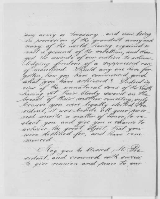 George E. Wiss to Abraham Lincoln, Monday, November 21, 1864  (Congratulations)